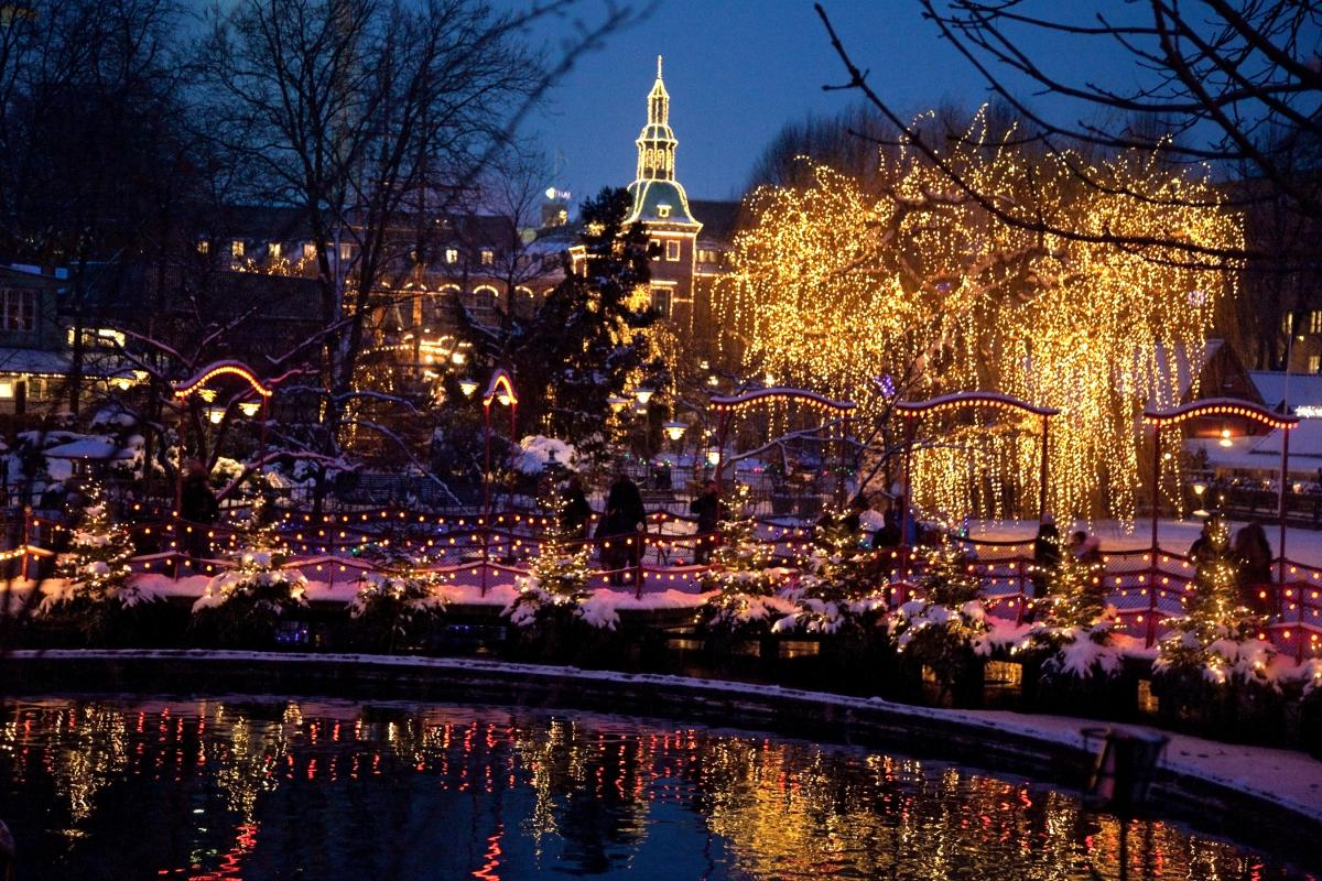 picture of Tivoli with lights at Christmas