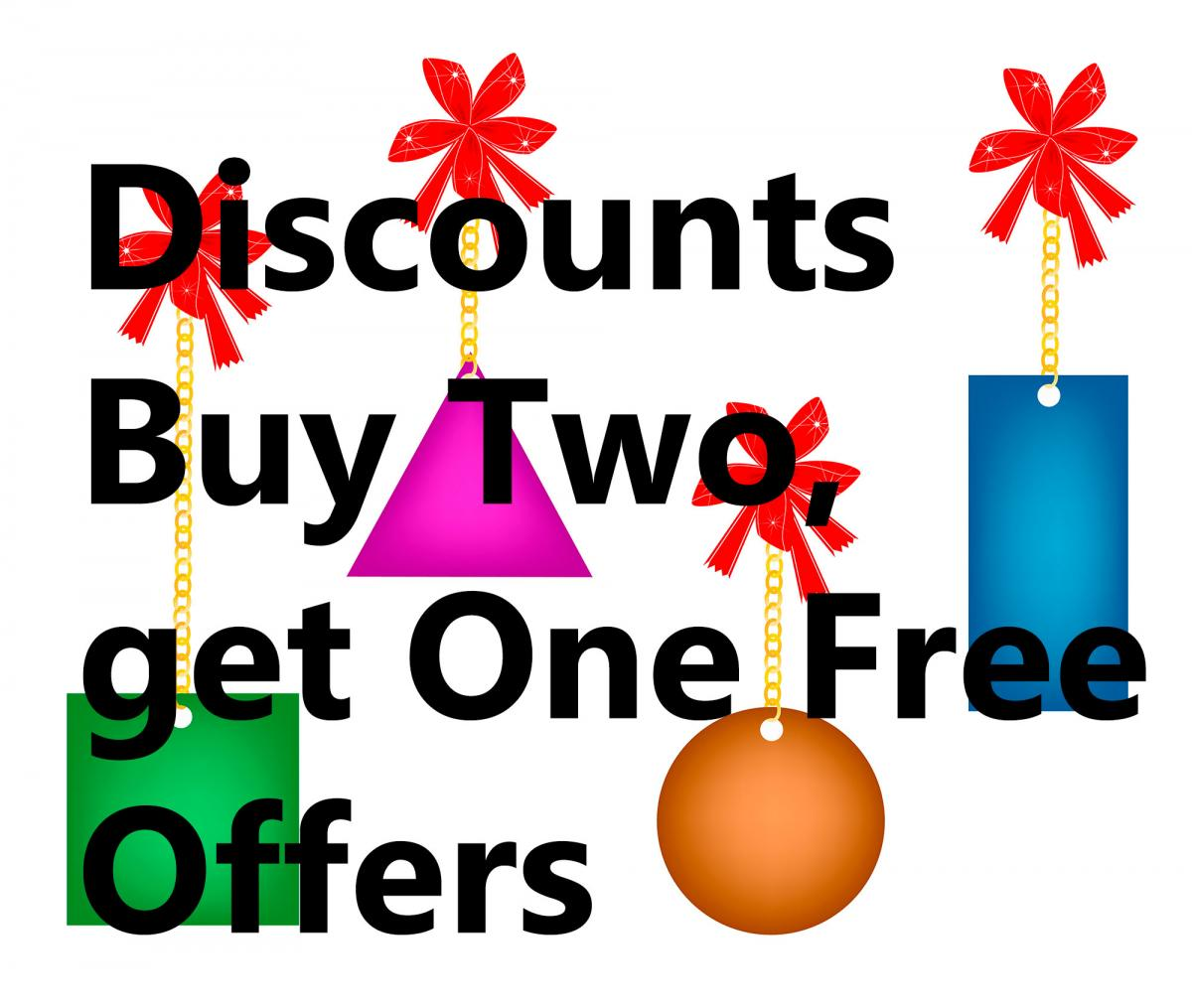 Discounts, Offers, Buy two get one free
